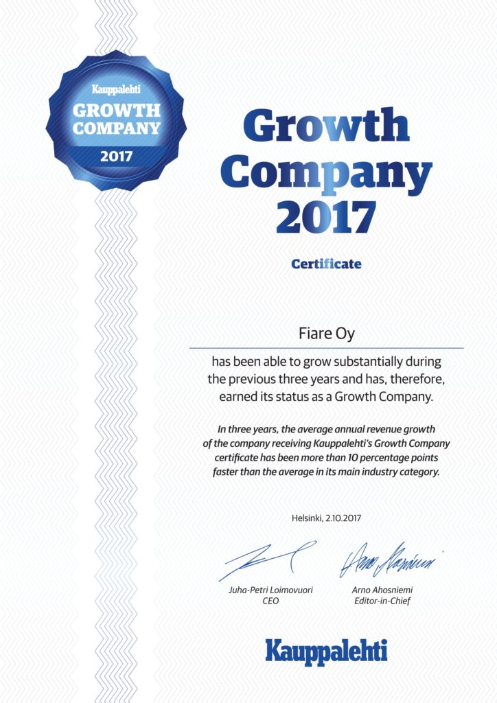 Growth Company Award Certificate