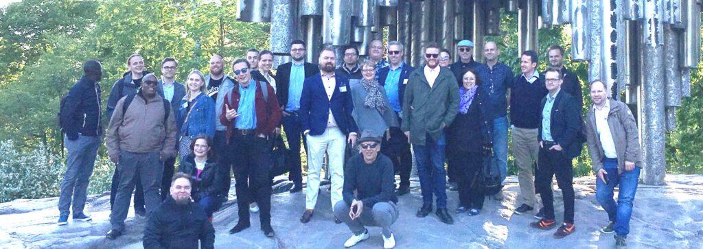 Summit group photo taken at Sibelius Monument, Helsinki.