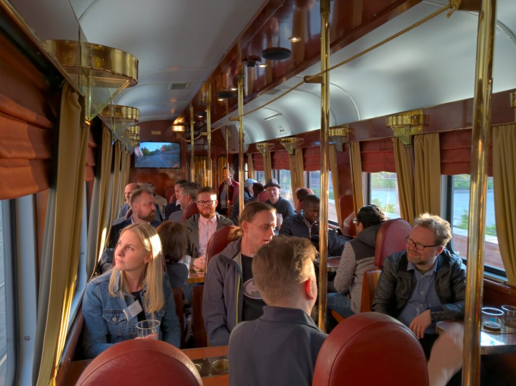 Attendees enjoyed a city tour on the local-brewery tram.